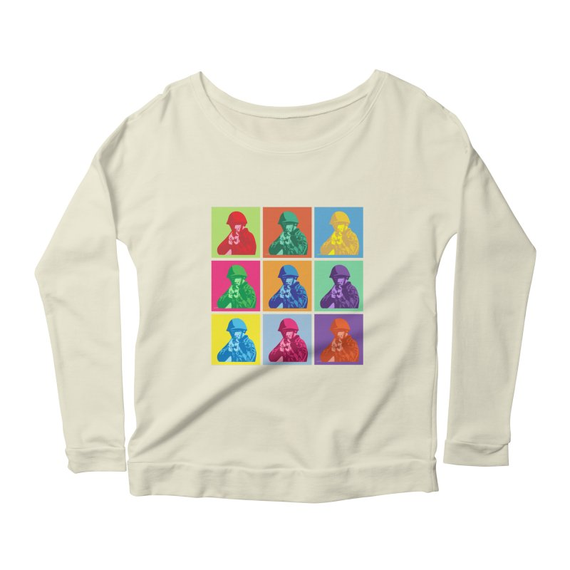 Nine Colored shoulder Targets Women's Longsleeve Scoopneck  by Dror Miler's Artist Shop