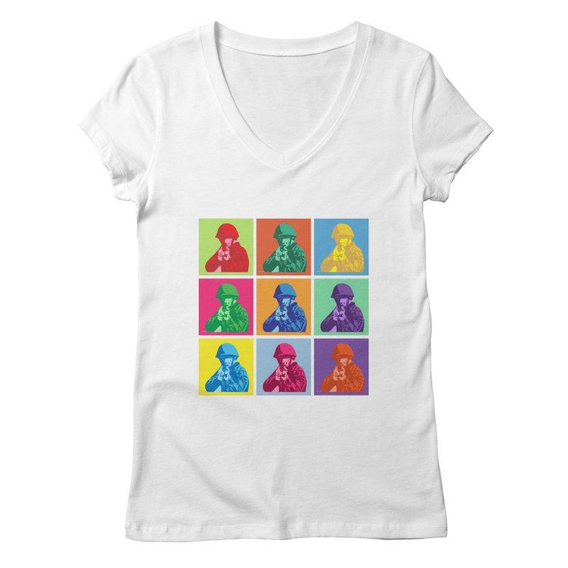 Nine Colored shoulder Targets Women's V-Neck by Dror Miler's Artist Shop