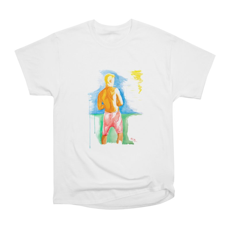 SMOKING GUY IN THE PARK Men's Classic T-Shirt by Dror Miler's Artist Shop