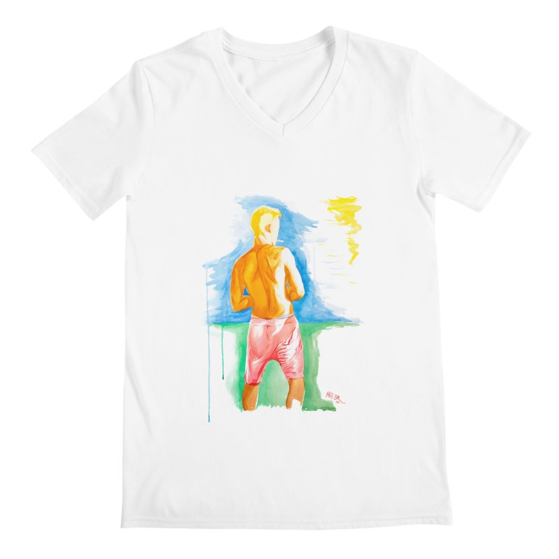 SMOKING GUY IN THE PARK Men's V-Neck by Dror Miler's Artist Shop