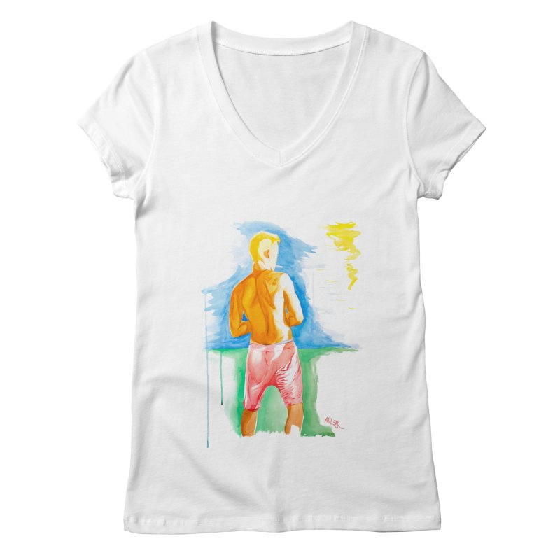 SMOKING GUY IN THE PARK Women's V-Neck by Dror Miler's Artist Shop