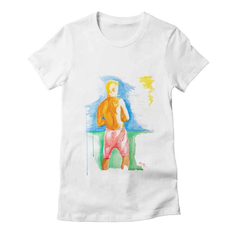 SMOKING GUY IN THE PARK Women's Fitted T-Shirt by Dror Miler's Artist Shop