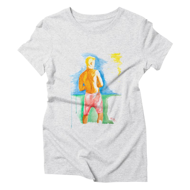 SMOKING GUY IN THE PARK Women's Triblend T-Shirt by Dror Miler's Artist Shop