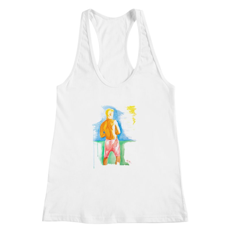 SMOKING GUY IN THE PARK Women's Racerback Tank by Dror Miler's Artist Shop