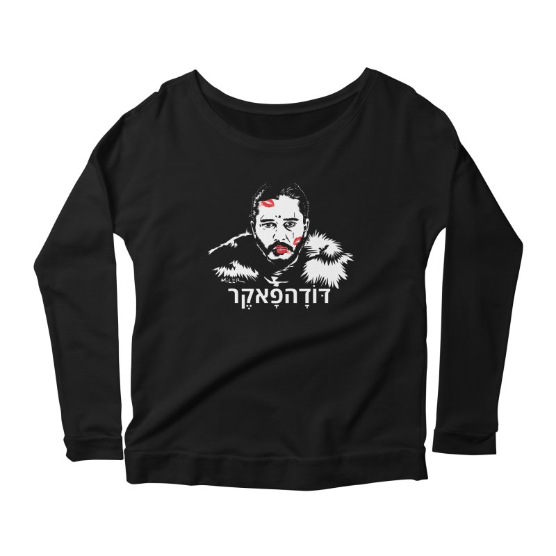 Jon Snow AuntieFucker - Hebrew Women's Longsleeve Scoopneck  by Dror Miler's Artist Shop