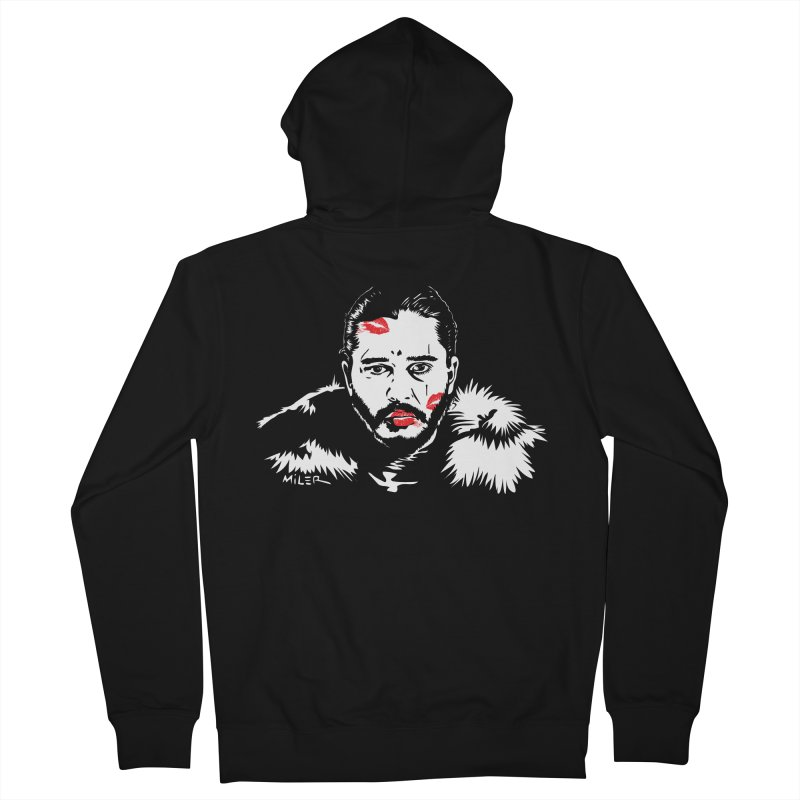 Jon Snow AuntieFucker NO TEXT Men's Zip-Up Hoody by Dror Miler's Artist Shop