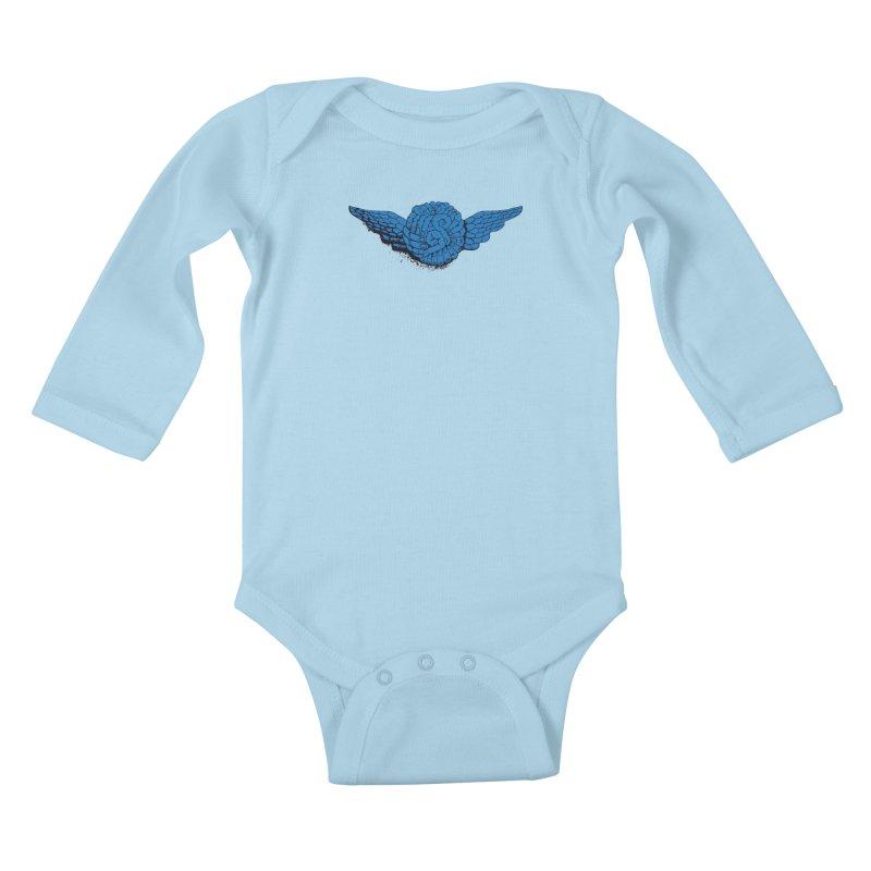Winged Fingers Ball Kids Baby Longsleeve Bodysuit by Dror Miler's Artist Shop