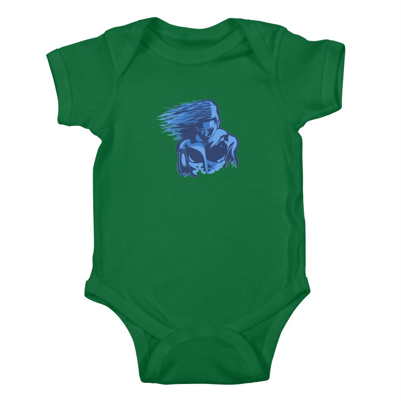 Blue Wind Man Kids Baby Bodysuit by Dror Miler's Artist Shop