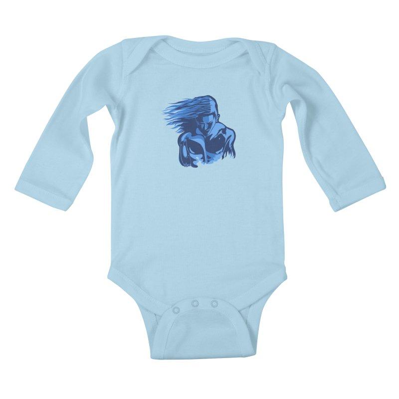 Blue Wind Man Kids Baby Longsleeve Bodysuit by Dror Miler's Artist Shop