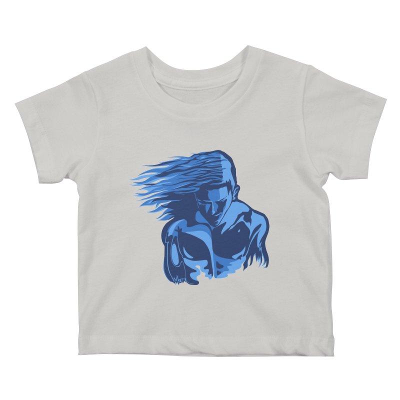Blue Wind Man Kids Baby T-Shirt by Dror Miler's Artist Shop