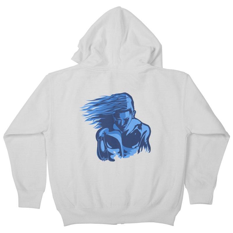 Blue Wind Man Kids Zip-Up Hoody by Dror Miler's Artist Shop