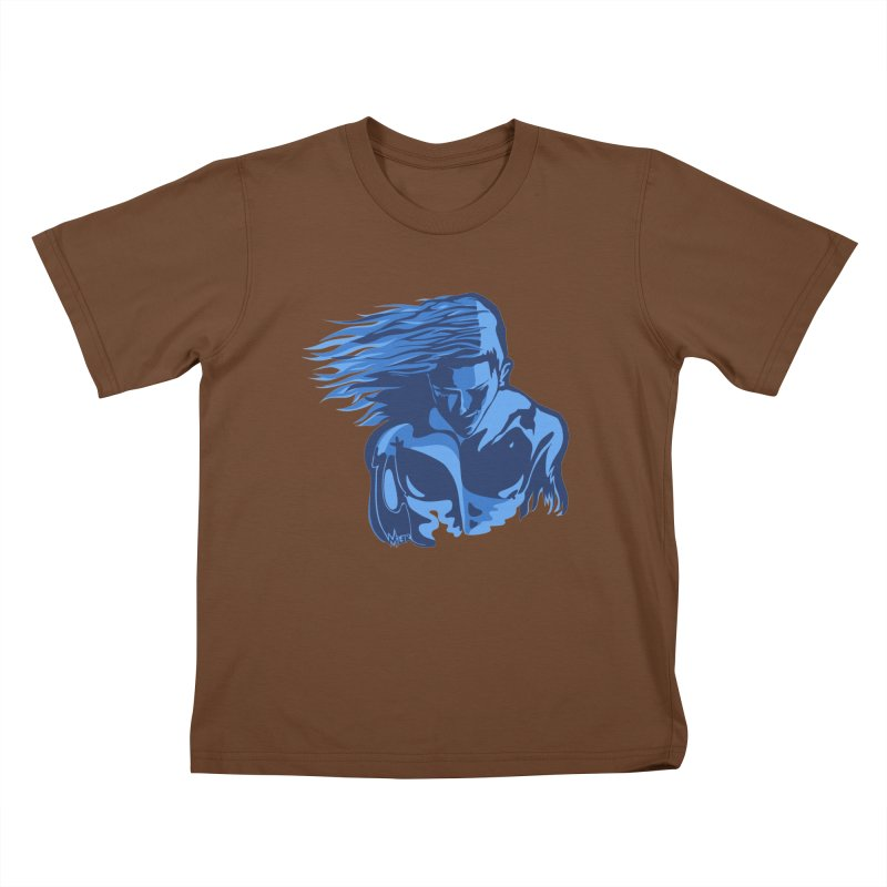 Blue Wind Man Kids T-shirt by Dror Miler's Artist Shop