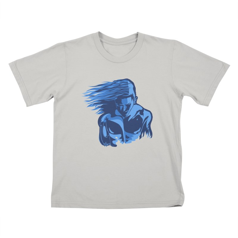 Blue Wind Man Kids T-shirt by Dror Miler's Artist Shop