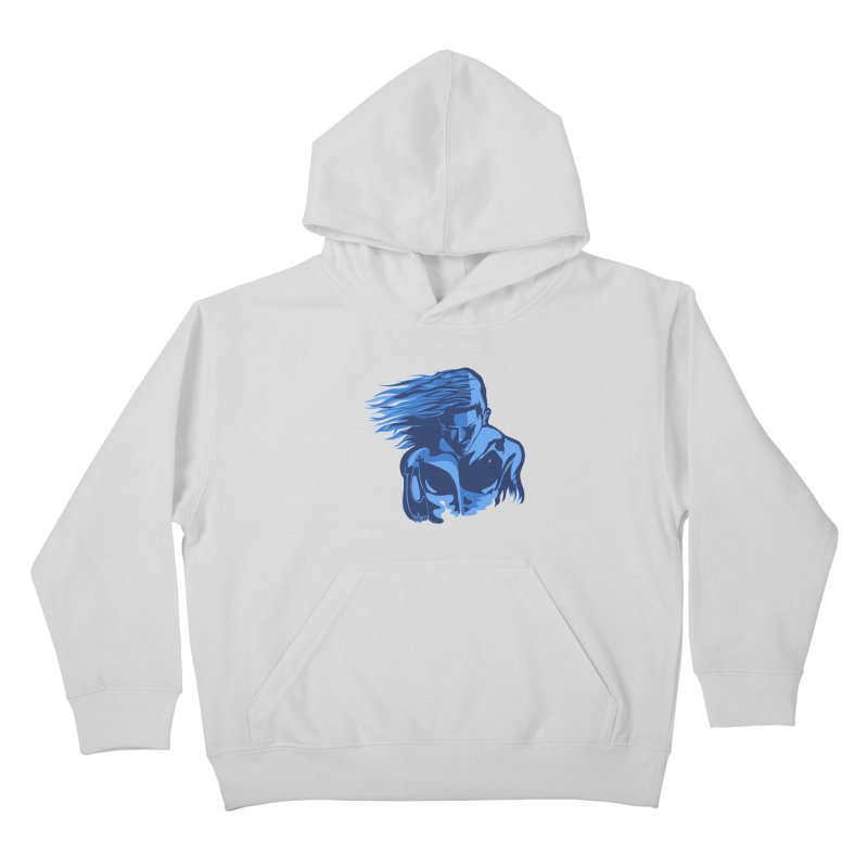 Blue Wind Man Kids Pullover Hoody by Dror Miler's Artist Shop
