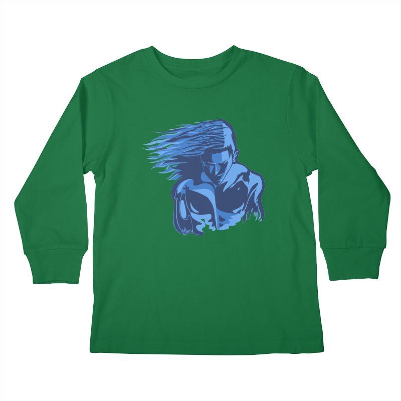 Blue Wind Man Kids Longsleeve T-Shirt by Dror Miler's Artist Shop