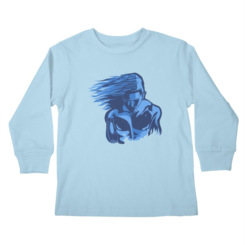 Blue Wind Man Kids Longsleeve T-Shirt by Dror Miler's Artist Shop