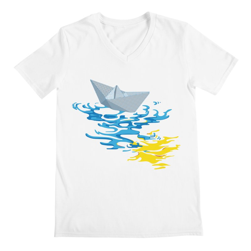 Simple Paper Boat Men's V-Neck by Dror Miler's Artist Shop