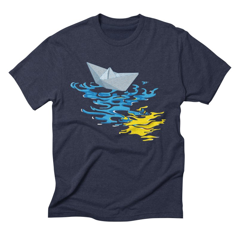 Simple Paper Boat in Men's Triblend T-Shirt Navy by Dror Miler's Artist Shop