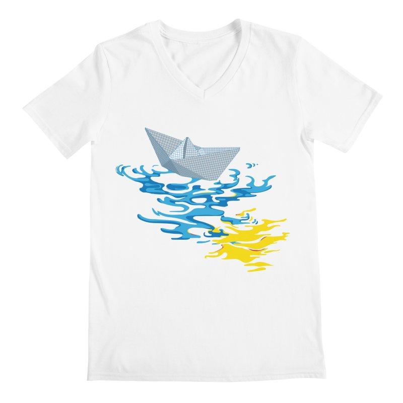 Simple Paper Boat Men's V-Neck by Dror Miler's Artist Shop