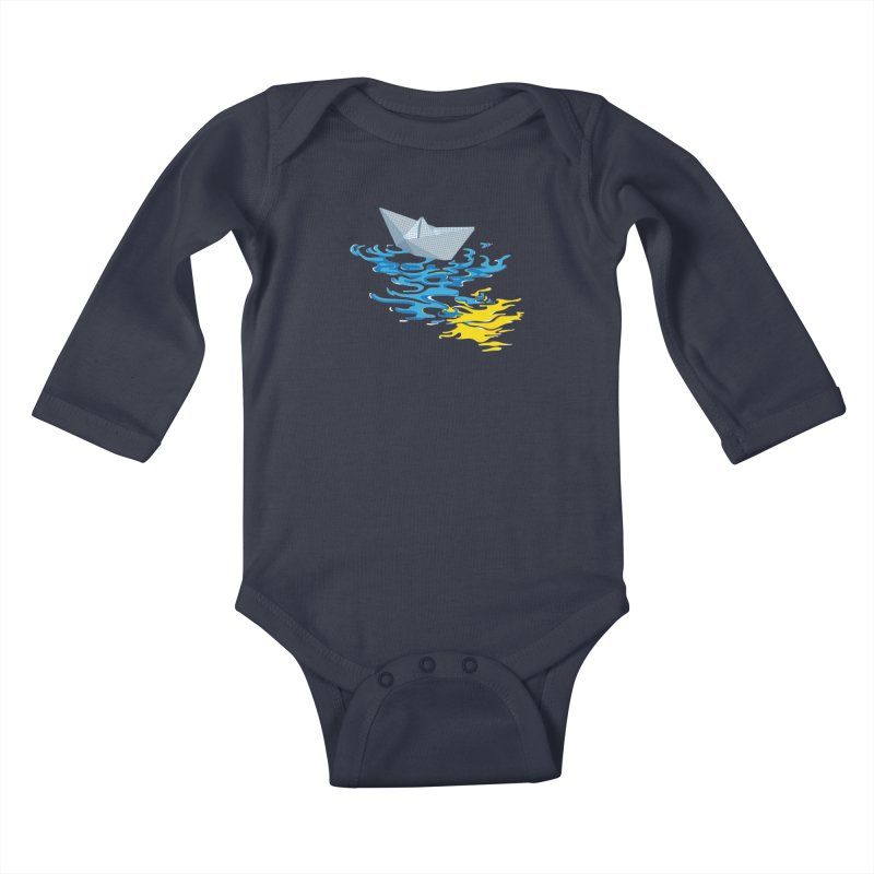 Simple Paper Boat Kids Baby Longsleeve Bodysuit by Dror Miler's Artist Shop