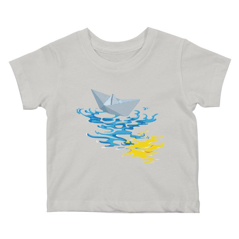 Simple Paper Boat Kids Baby T-Shirt by Dror Miler's Artist Shop