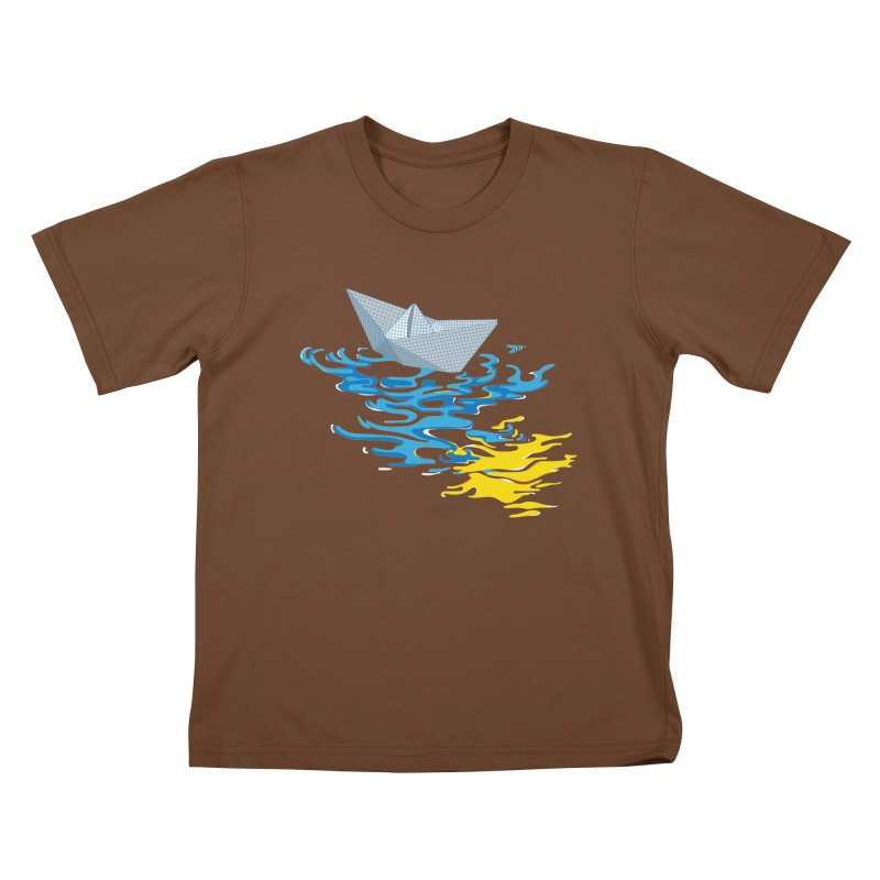 Simple Paper Boat Kids T-shirt by Dror Miler's Artist Shop