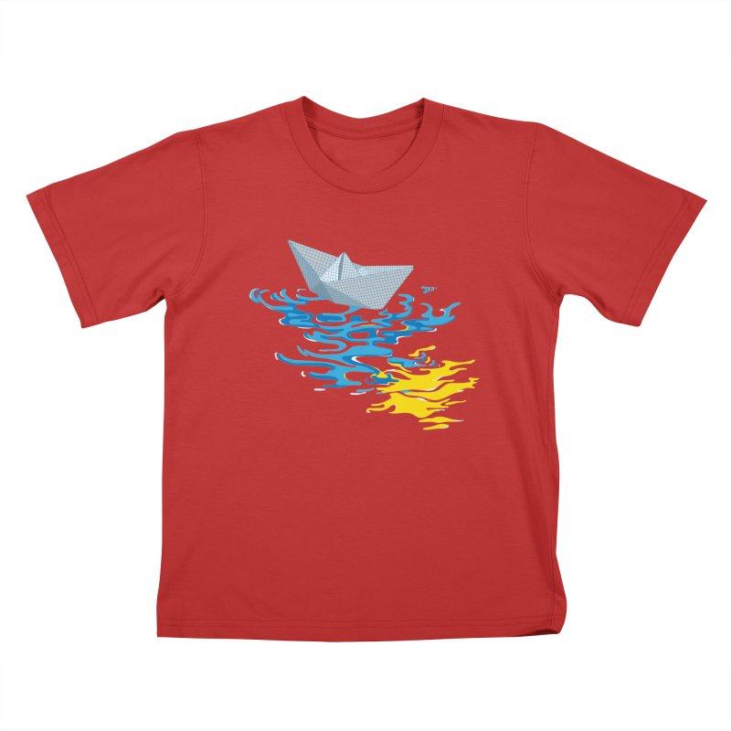 Simple Paper Boat Kids T-Shirt by Dror Miler's Artist Shop