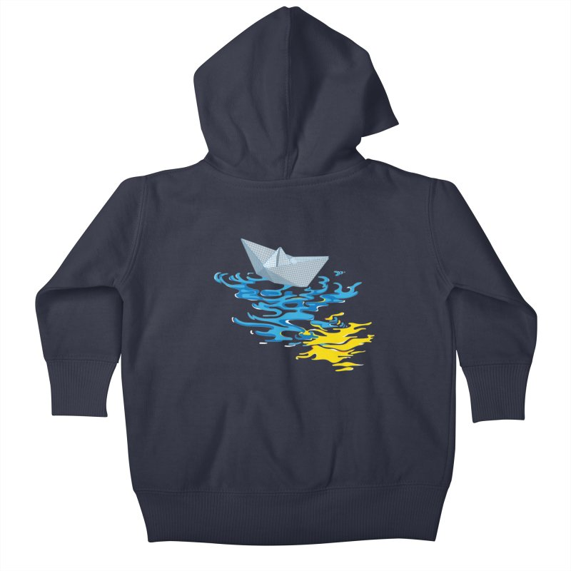 Simple Paper Boat Kids Baby Zip-Up Hoody by Dror Miler's Artist Shop