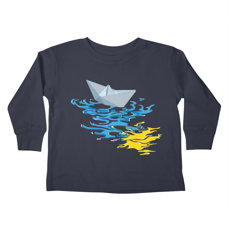 Simple Paper Boat Kids Toddler Longsleeve T-Shirt by Dror Miler's Artist Shop