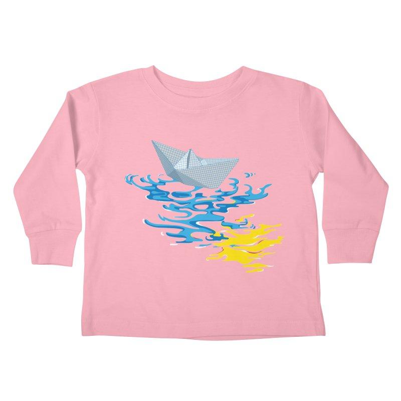 Simple Paper Boat Kids Toddler Longsleeve T-Shirt by Dror Miler's Artist Shop