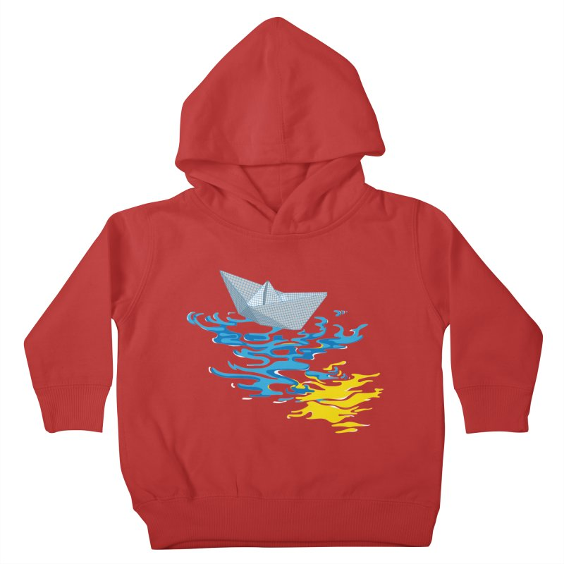 Simple Paper Boat Kids Toddler Pullover Hoody by Dror Miler's Artist Shop