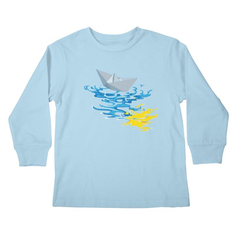 Simple Paper Boat Kids Longsleeve T-Shirt by Dror Miler's Artist Shop