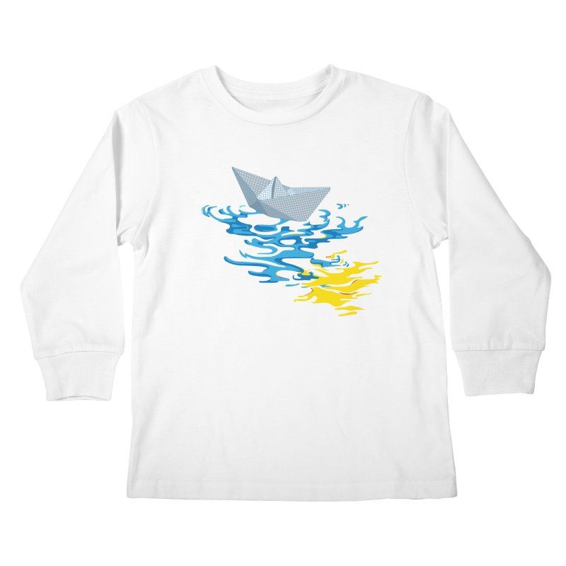 Simple Paper Boat Kids Longsleeve T-Shirt by Dror Miler's Artist Shop