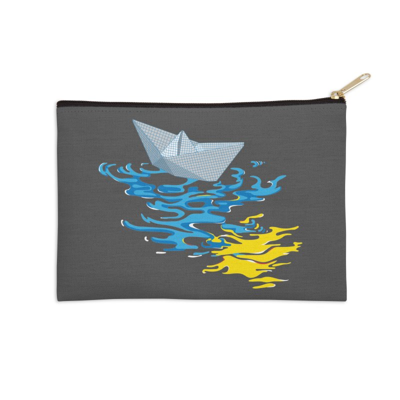 Simple Paper Boat Accessories Zip Pouch by Dror Miler's Artist Shop