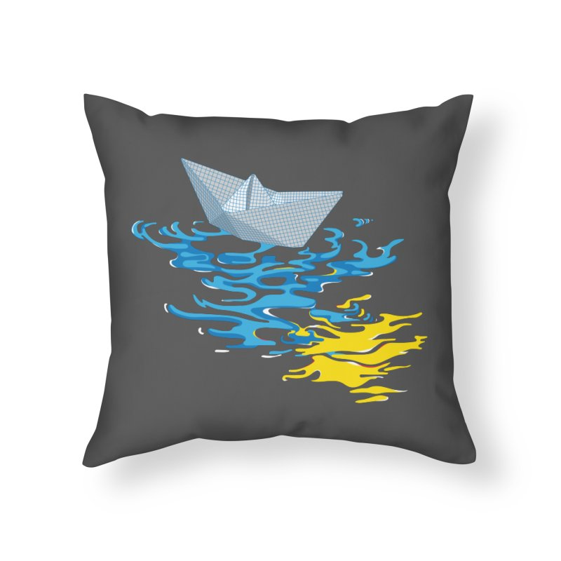 Simple Paper Boat Home Throw Pillow by Dror Miler's Artist Shop