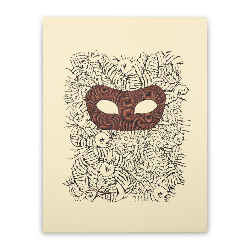 Fingers Mask Home Stretched Canvas by Dror Miler's Artist Shop