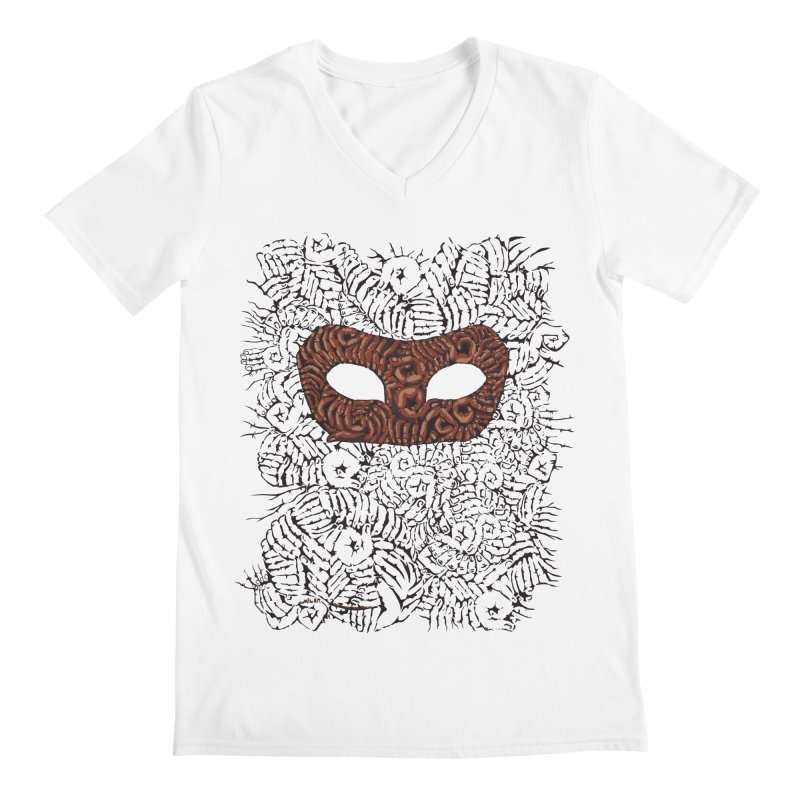 Fingers Mask Men's V-Neck by Dror Miler's Artist Shop