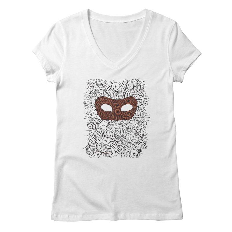 Fingers Mask Women's V-Neck by Dror Miler's Artist Shop