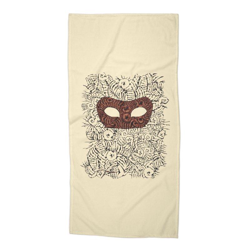 Fingers Mask Accessories Beach Towel by Dror Miler's Artist Shop