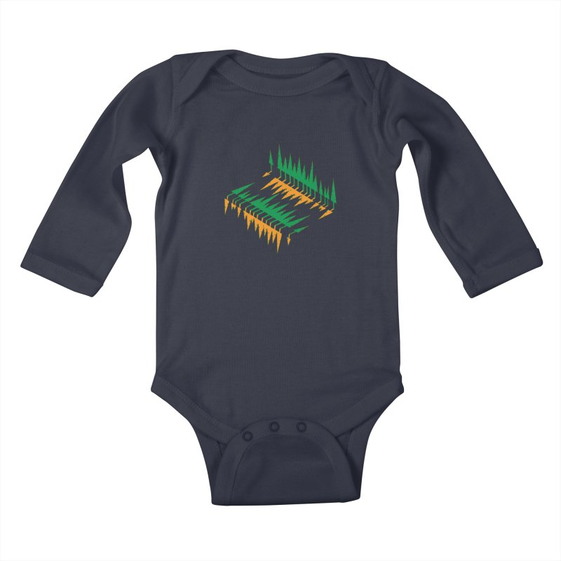 Cypresses reflecting Kids Baby Longsleeve Bodysuit by Dror Miler's Artist Shop