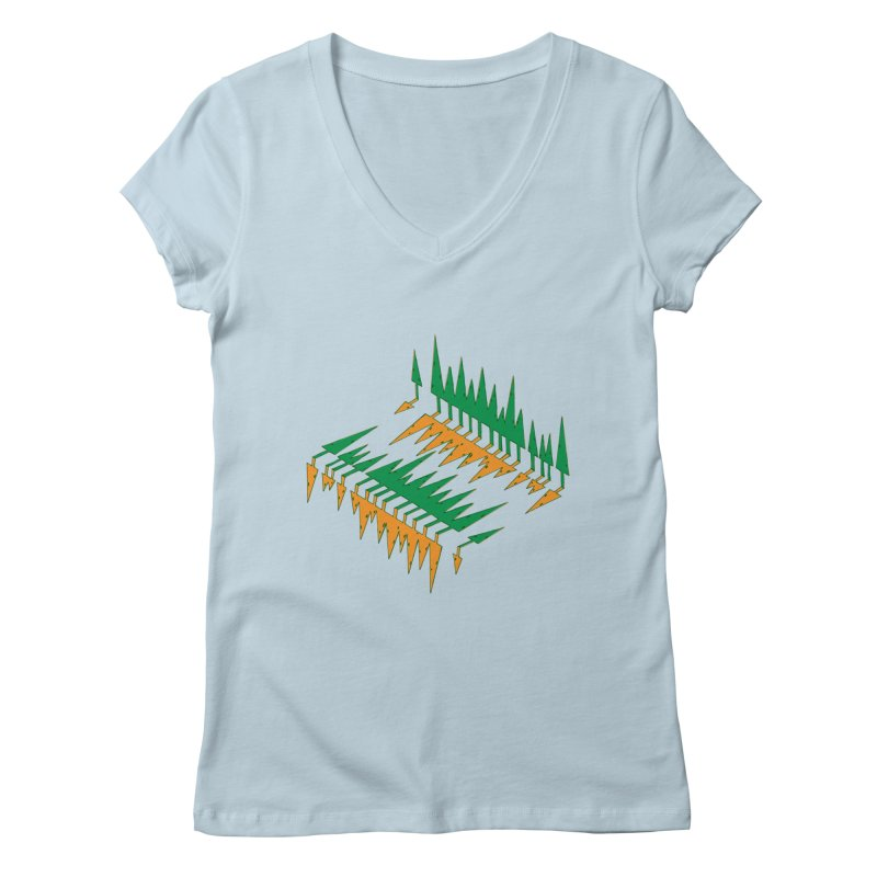 Cypresses reflecting Women's Regular V-Neck by Dror Miler's Artist Shop