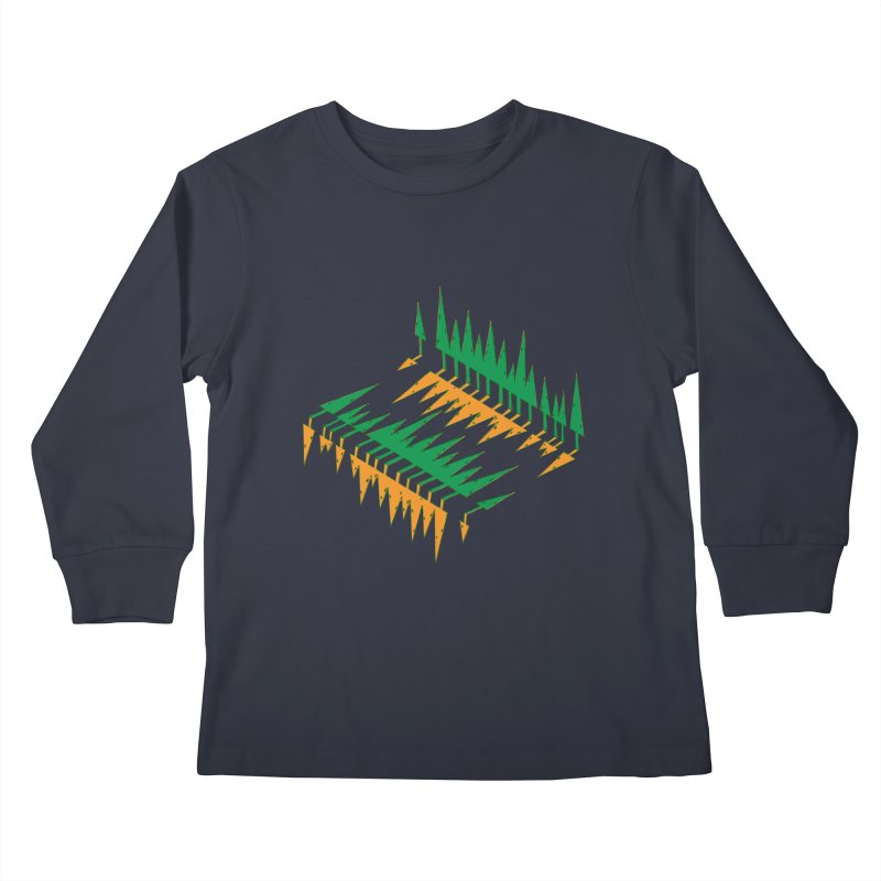 Cypresses reflecting Kids Longsleeve T-Shirt by Dror Miler's Artist Shop