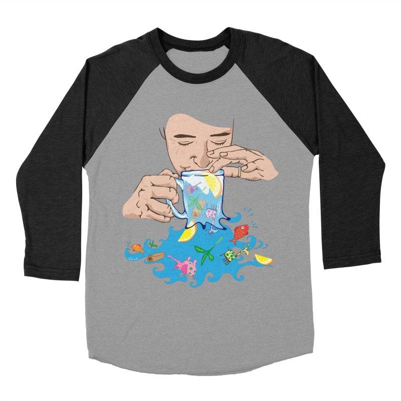 Surreal tea time Women's Baseball Triblend Longsleeve T-Shirt by Dror Miler's Artist Shop