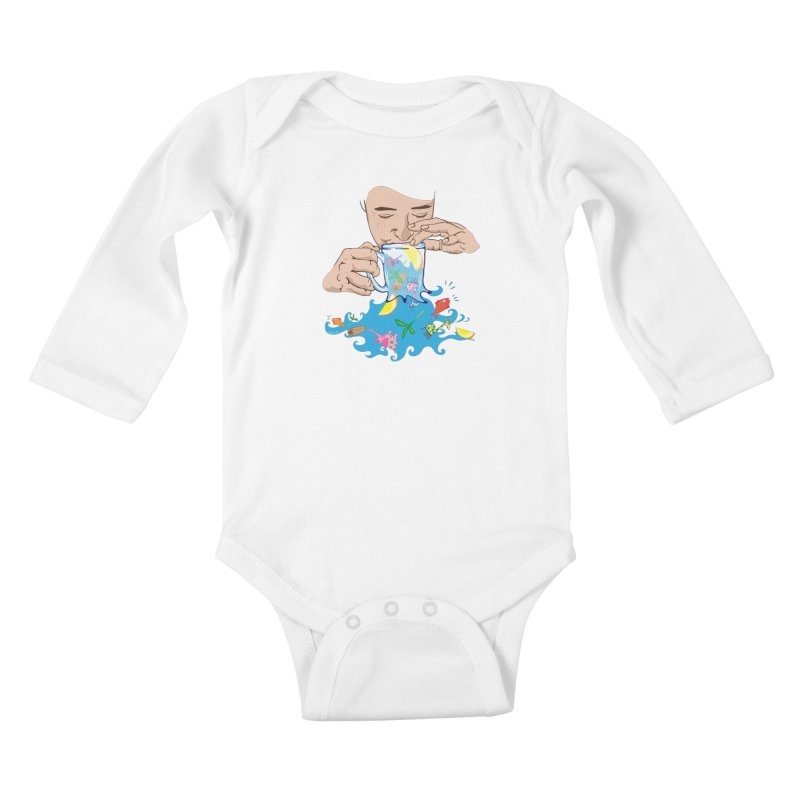 Surreal tea time Kids Baby Longsleeve Bodysuit by Dror Miler's Artist Shop