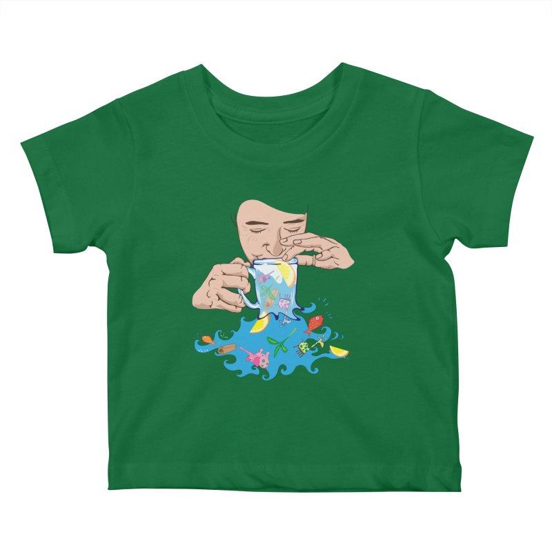 Surreal tea time Kids Baby T-Shirt by Dror Miler's Artist Shop