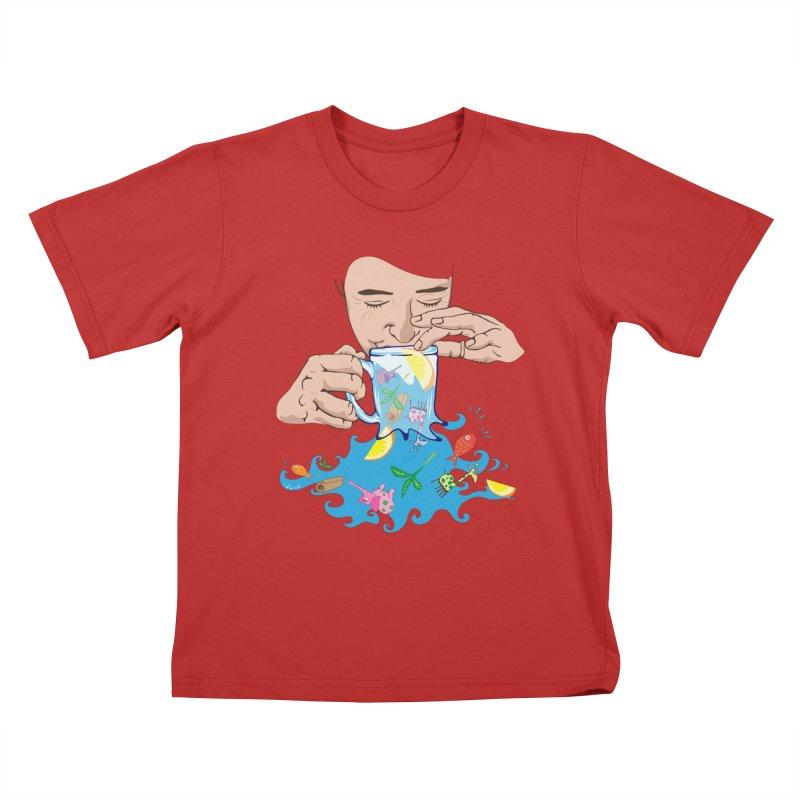 Surreal tea time Kids T-Shirt by Dror Miler's Artist Shop