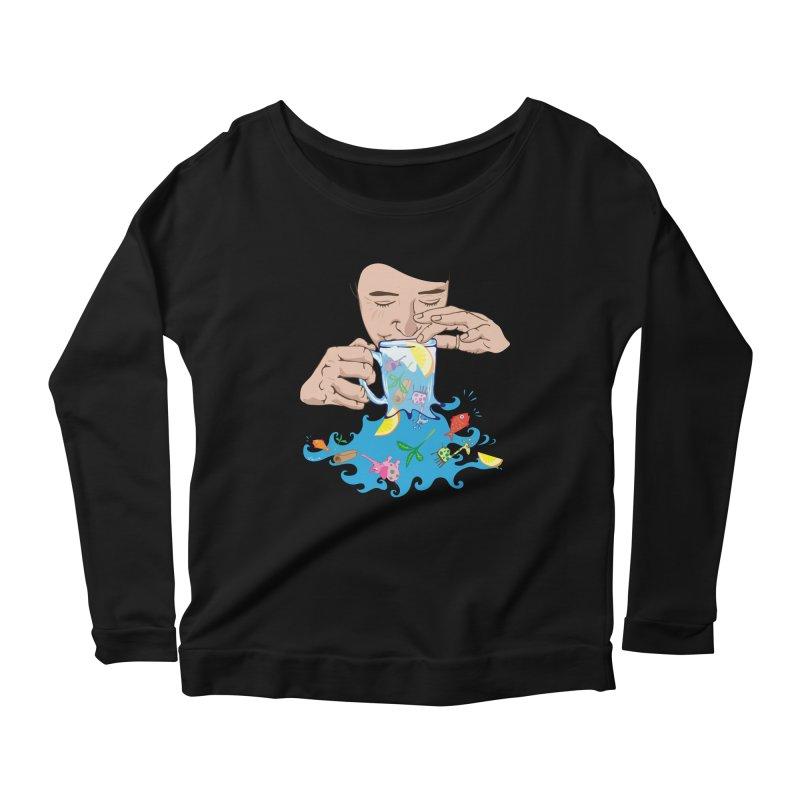 Surreal tea time Women's Scoop Neck Longsleeve T-Shirt by Dror Miler's Artist Shop