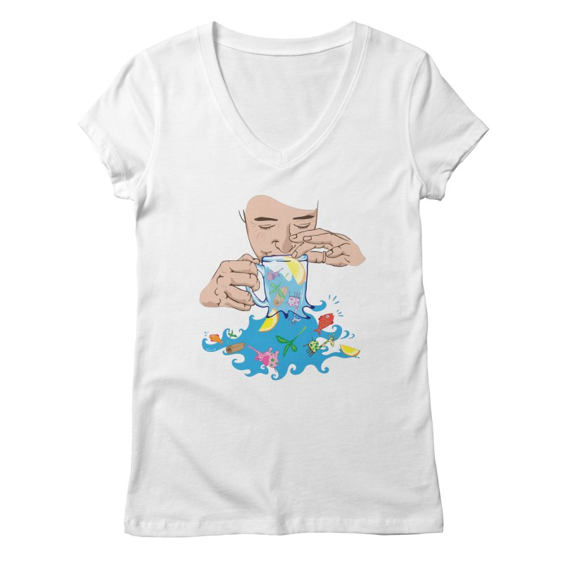 Surreal tea time Women's Regular V-Neck by Dror Miler's Artist Shop