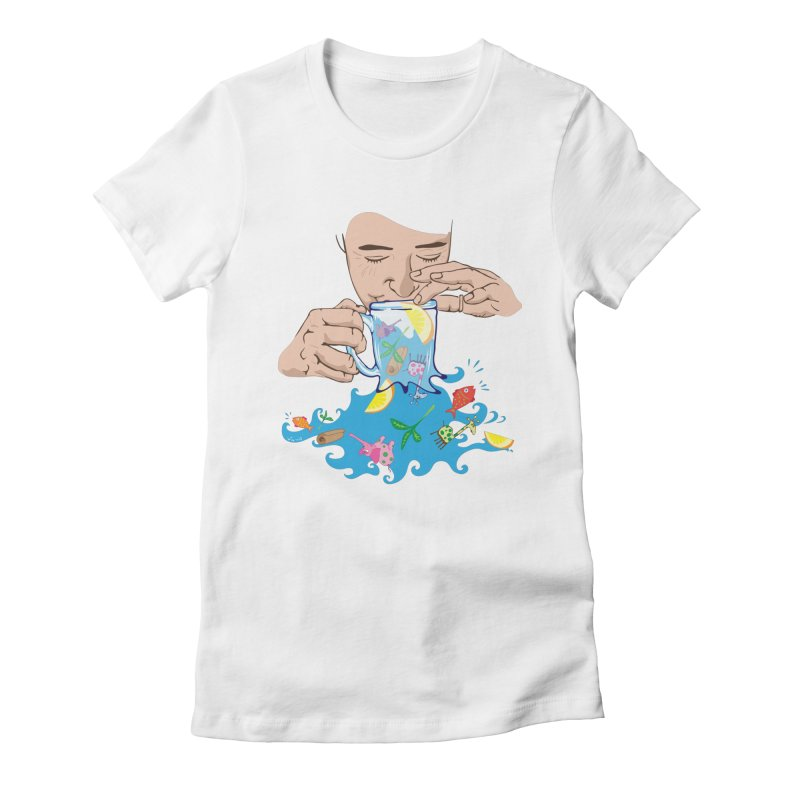 Surreal tea time Women's Fitted T-Shirt by Dror Miler's Artist Shop