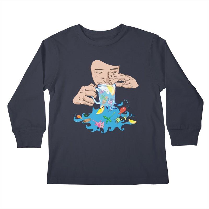 Surreal tea time Kids Longsleeve T-Shirt by Dror Miler's Artist Shop